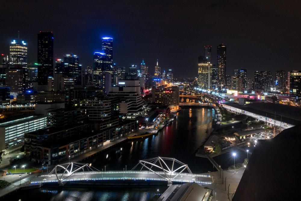 Night View from Bedroom Relaxation Suite - Hilton Melbourne South Wharf