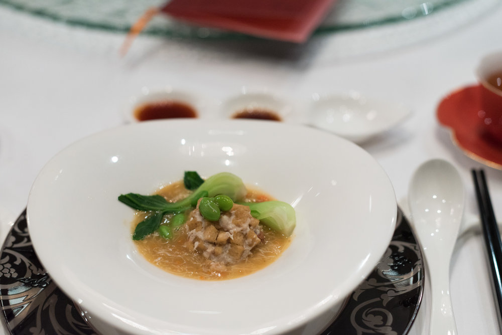 Braised Tofu, Meatball, Hairy Crab Meat and Roe (蟹粉扒狮子头豆付)  Shang Palace - Shangri-La Hotel, Singapore