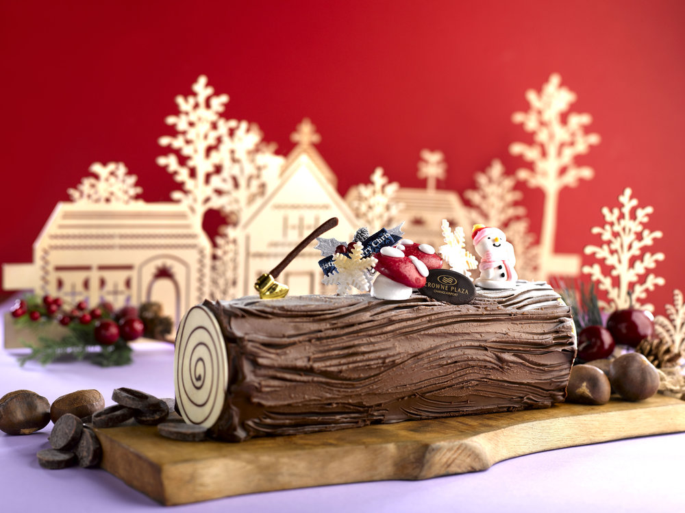 Manjari Chocolate  and Caramel Chestnut Yule Log Cake | Photo Credit: Crowne Plaza Changi Airport