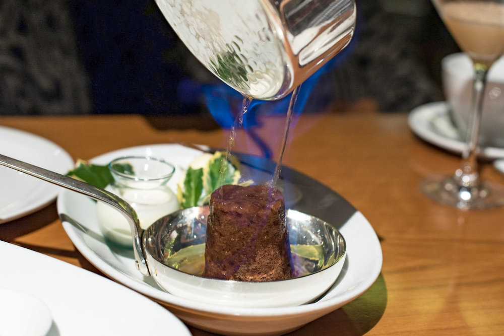 Jameson Whiskey Flambéed Plum Pudding, Vanilla Bean Ice Cream, Custard Sauce (S$16++)