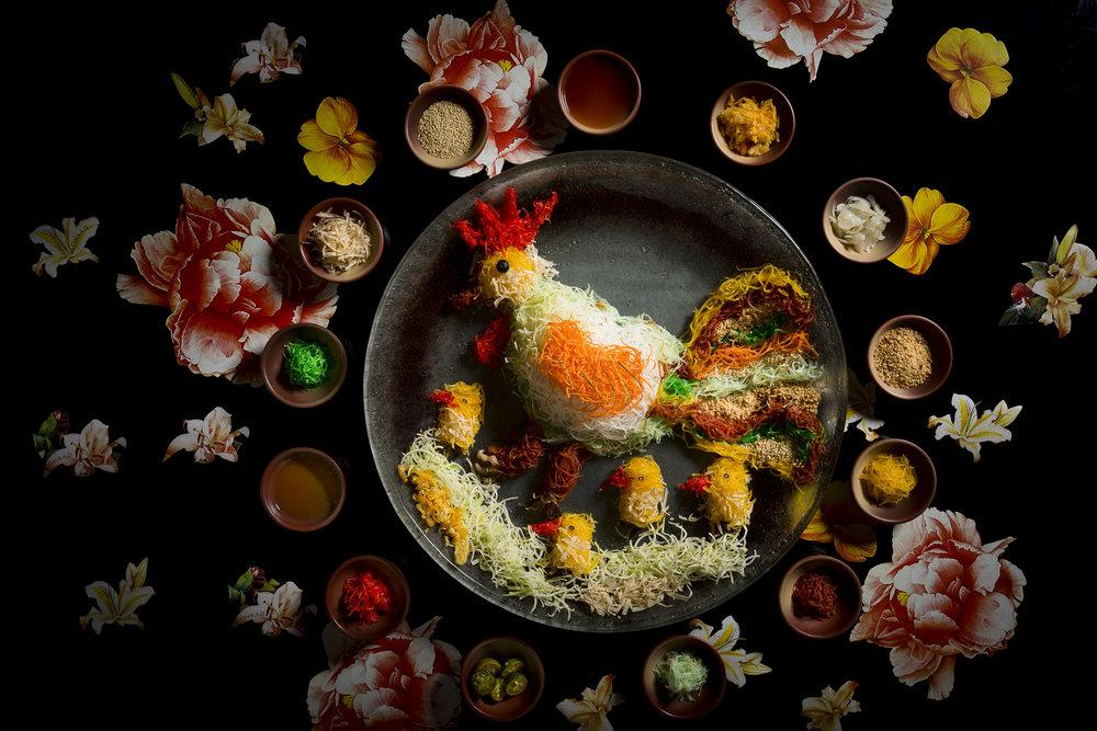 Fortune Gold Flakes 'Yu Sheng' Kanpachi, Salmon and Crispy Fish Skin | Photo Credit: Conrad Centennial Singapore