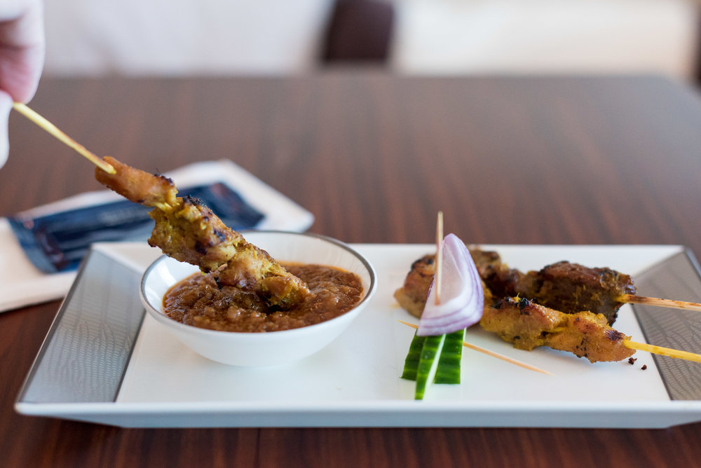 Singapore Chicken and Lamb Satay - Lunch Service Singapore Airlines Suites A380-800 - AKL to SIN
