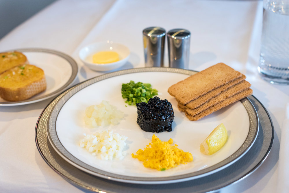Chilled Malossol Caviar - Lunch Service Singapore Airlines Suites A380-800 - AKL to SIN