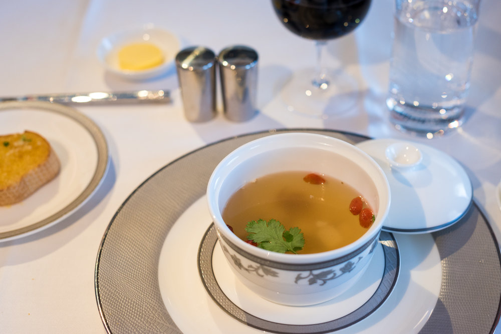 Chicken Broth with Ginseng and Wolfberries - Lunch Service Singapore Airlines Suites A380-800 - AKL to SIN