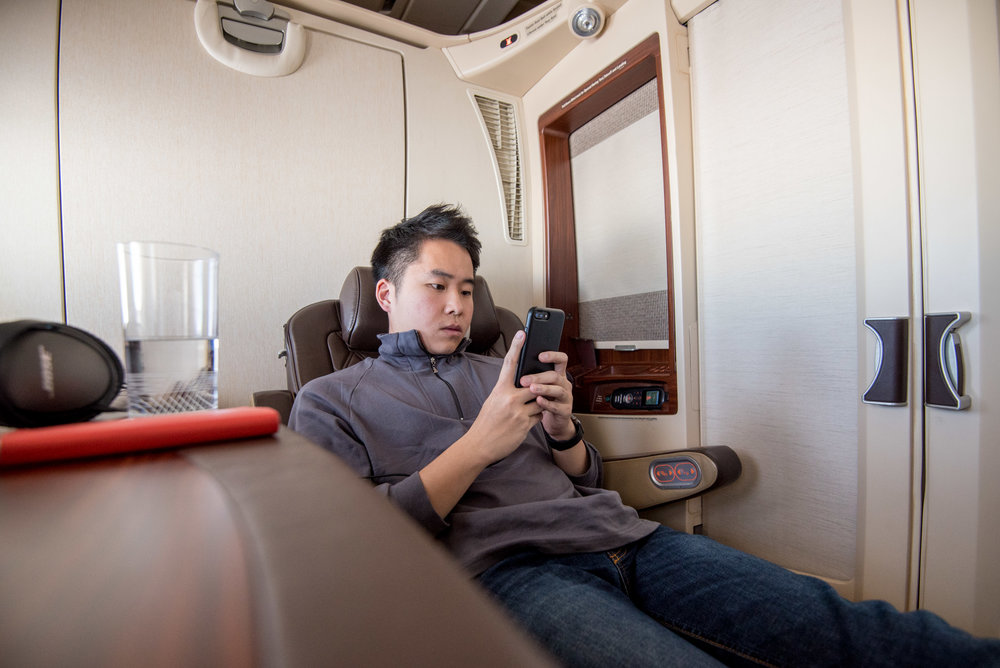 Relaxing in the Private Cabin (Suite 3F) Singapore Airlines Suites A380-800 - AKL to SIN