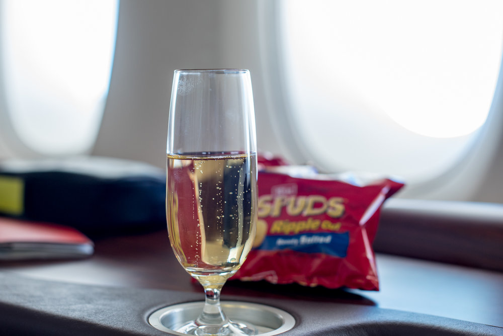 Snacking on Krug and Potato Chips Singapore Airlines Suites A380-800 - AKL to SIN