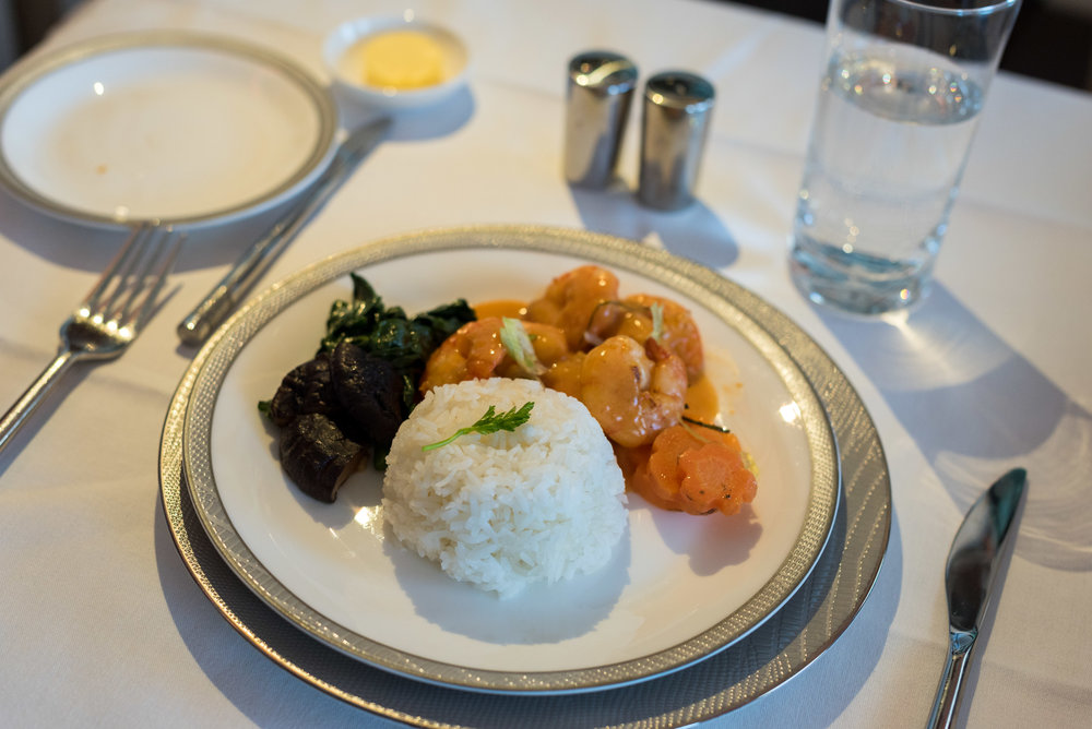 Thai Style Prawns with Massaman Curry Sauce - Light Dinner Service Singapore Airlines Suites A380-800 - AKL to SIN