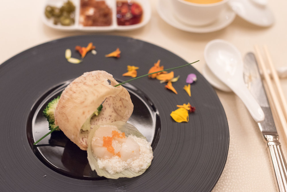Stir-fried Broccoli topped with Scallop and Egg White  Golden Peony - Conrad Centennial Singapore