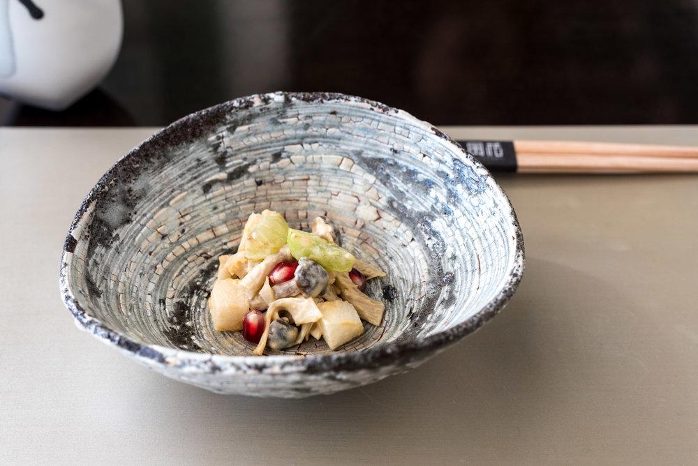 Grilled Mushroom with Sesame Paste Dressing, Oyster Mushroom, Shimeji Mushroom, Grape, Japanese Pear and Pomegranate  Kazahana - Conrad Tokyo