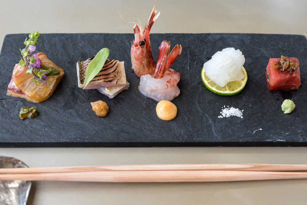 From Right: Marinated Tuna with Smoked Radish Pickles and Wasabi | Squid with Salt and Citrus | Shrimp with Shuto Sauce | Barracuda with Ponzu Vinegar | Sea Bream with Sesame Soy Sauce  Kazahana - Conrad Tokyo