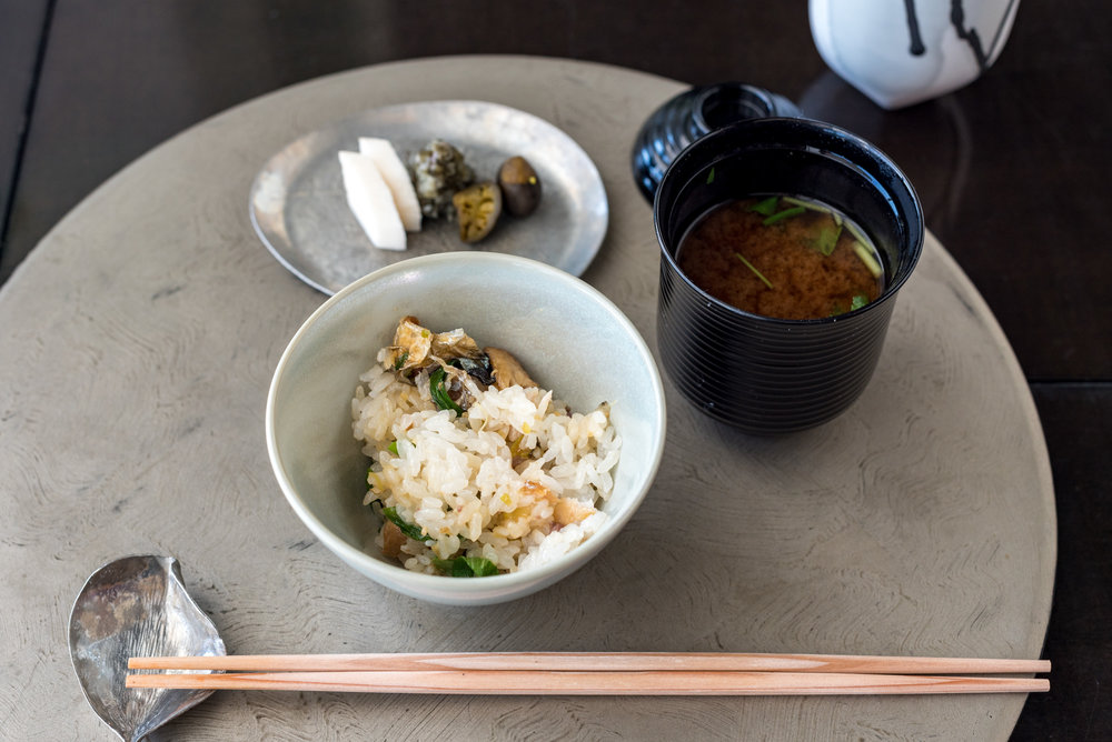 Steamed Japanese Rice with Pacific Saury, Miso Soup and Japanese Pickles   Kazahana - Conrad Tokyo
