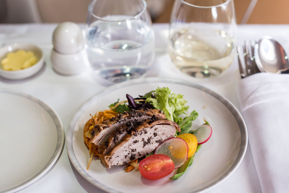 Truffle Marinated Roast Duck with Cordycep Flower and Mushroom Salad - Lunch Service Singapore Airlines Business A380-800 - HKG to SIN