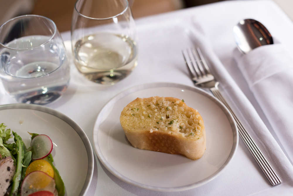 Garlic Bread from Bread Basket - Lunch Service    Singapore Airlines Business A380-800 - HKG to SIN