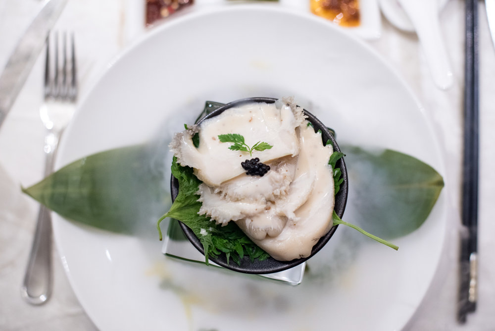 Chilled Marinated South African Fresh Abalone in Half Shell with Goma Sesame Sake Dressing Man Fu Yuan - InterContinental Singapore