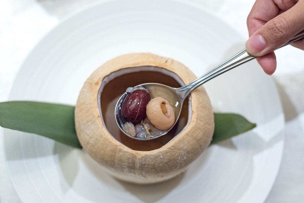 Double-boiled Hashima with Eight Treasures Tea served in Whole Coconut Man Fu Yuan - InterContinental Singapore