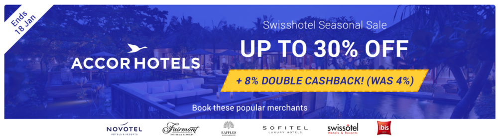 Earn Cashback on AccorHotels stay via ShopBack