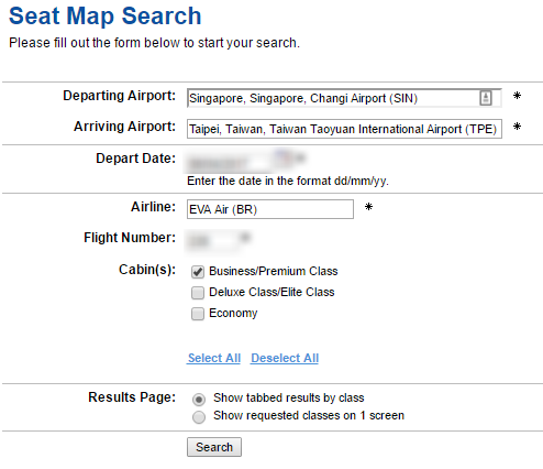 Search for Seat Map with ExpertFlyer