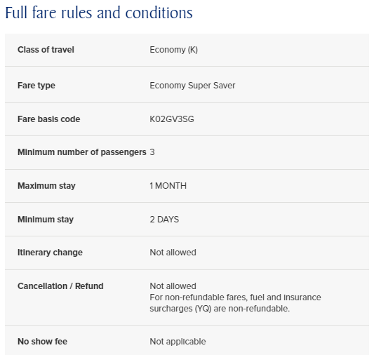 Full Fare Rules and Conditions | Photo Credit: Singapore Airlines
