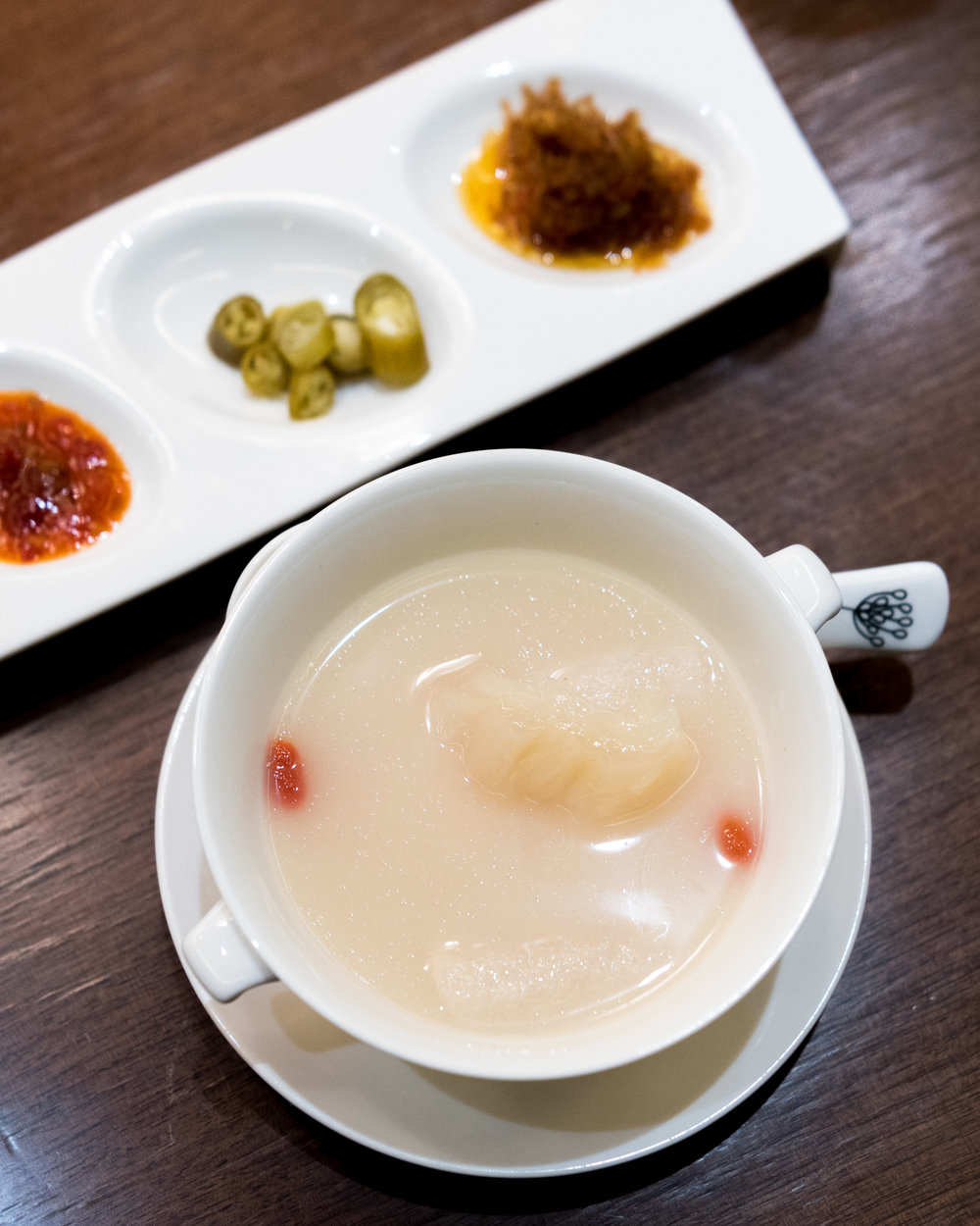 Double-boiled Fish Maw with Bamboo Pith in Fish Bone Broth  Hai Tien Lo - Pan Pacific Singapore
