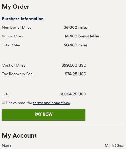 Purchase Mileage Plan with 40% Bonus