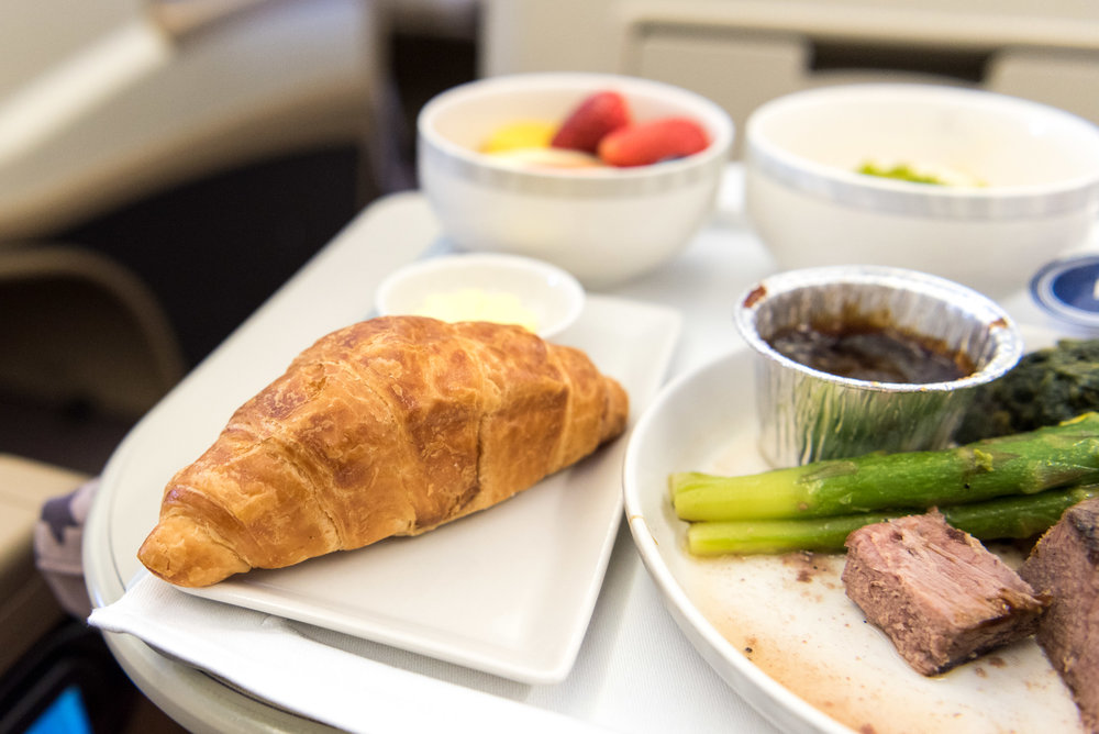Croissant and Butter - Brunch Service   Singapore Airlines Business Class A330-300 - SIN to DPS