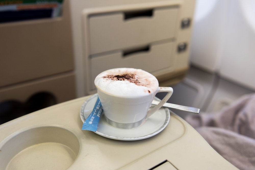 Cappuccino - Brunch Service Singapore Airlines Business Class A330-300 - SIN to DPS
