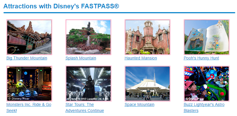 Attractions with FASTPASS in Tokyo Disneyland | Photo Credit: Tokyo Disney Resort