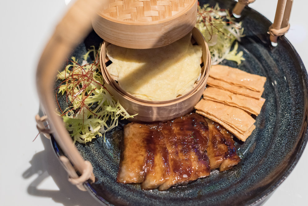 Roasted Coffee Pork Neck served with Crispy Beancurd Skin and Chinese Pancake (S$14++) Mitzo - Grand Park Orchard
