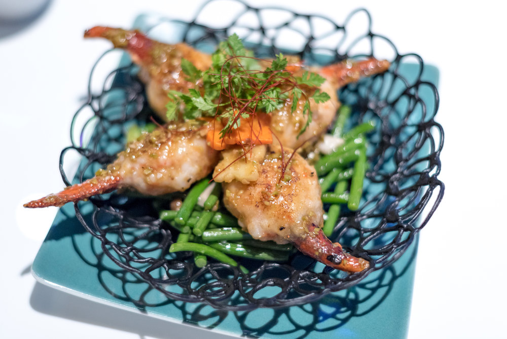 Stir-fried Lobster Claw wrapped with Shrimps and Seasonal Greens in Petai Bean Sauce (S$32++)  Mitzo - Grand Park Orchard