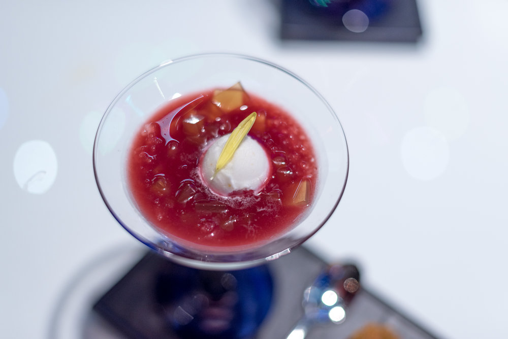 Aged Rice Wine Jelly served with Cherry Crush, Lychee Sorbet and Battered Water Chestnut Cake (S$18++)