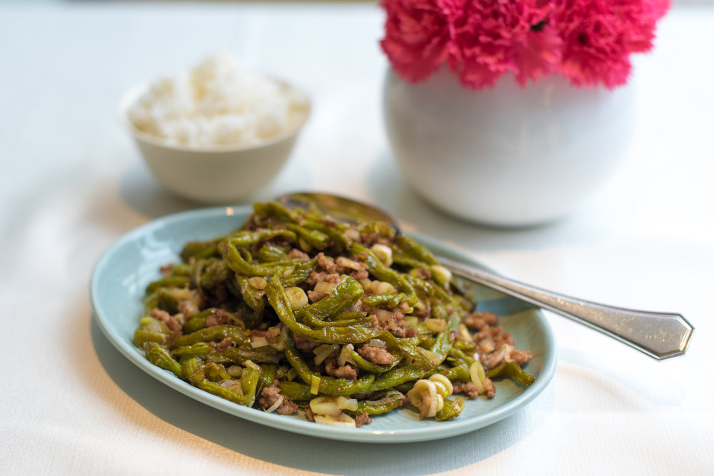 Stir-fired Snap Beans and Minced Pork (NT$420+)  Yun Jin Chinese Restaurant - Grand Hyatt Taipei