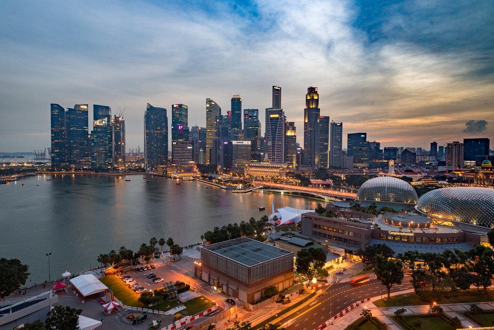 Evening View from the Room Club Marina Bay Room - Mandarin Oriental, Singapore