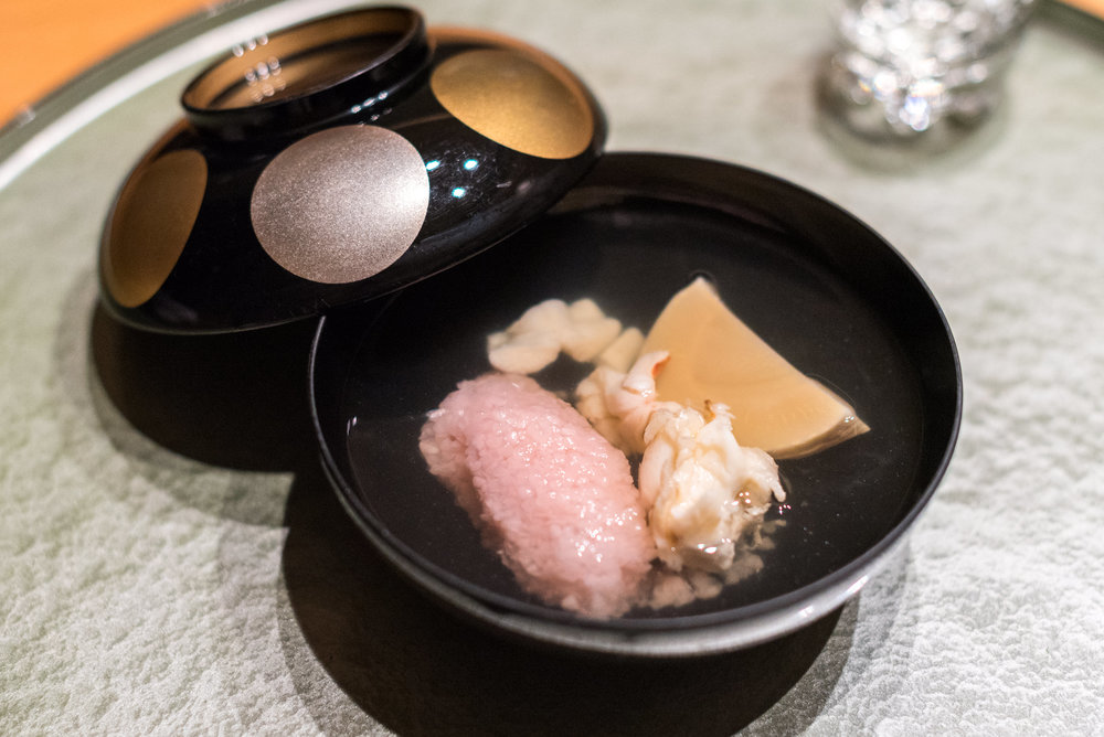Soup with Glutinous Rice and Sakura Leaf served with Chef Takagi's Signature Soup ibuki by Takagi Kazuo - Shangri-La's Far Eastern Plaza Hotel, Taipei