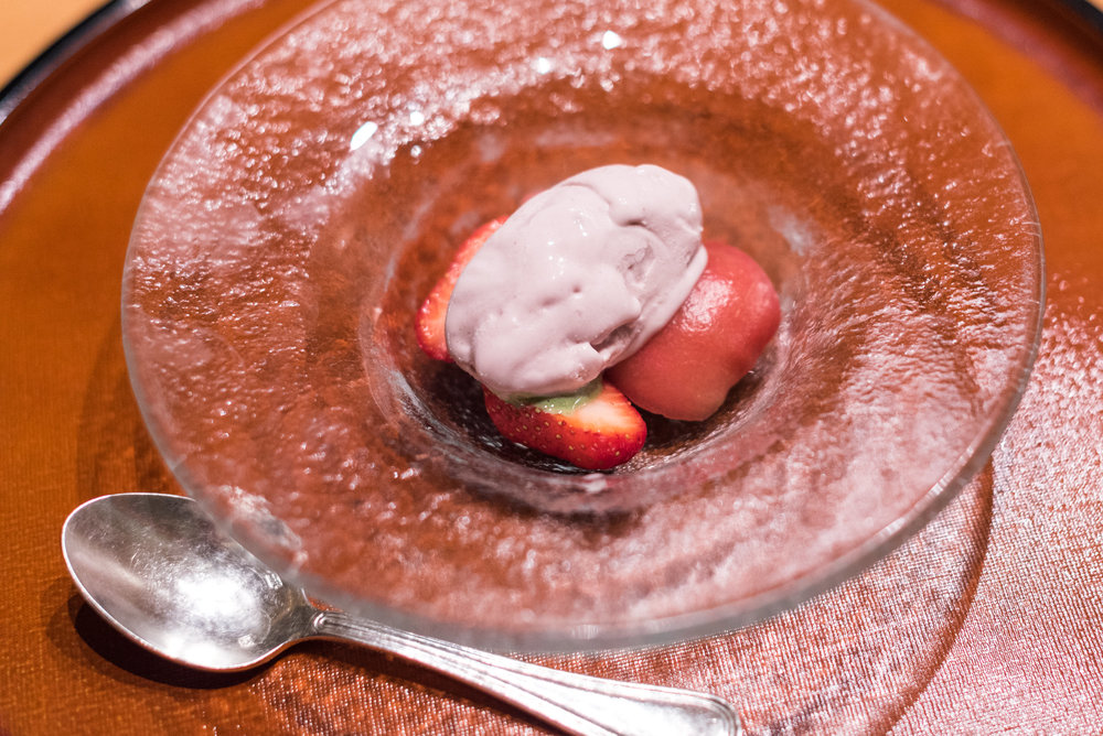 Strawberry and Condensed Milk Ice Cream with Matcha Sauce ibuki by Takagi Kazuo - Shangri-La's Far Eastern Plaza Hotel, Taipei