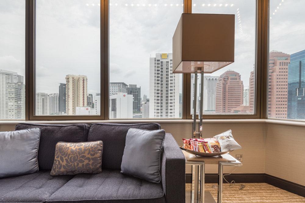 Sofa and Snacks  Studio Room - Singapore Marriott Tang Plaza Hotel