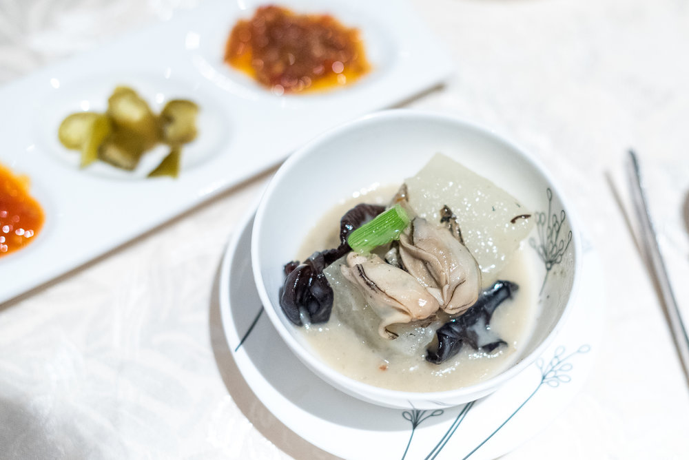 Boiled Baby Oyster with Winter Melon and Pepper (胡椒冬瓜煮海蛎)  Hai Tien Lo - Pan Pacific Singapore
