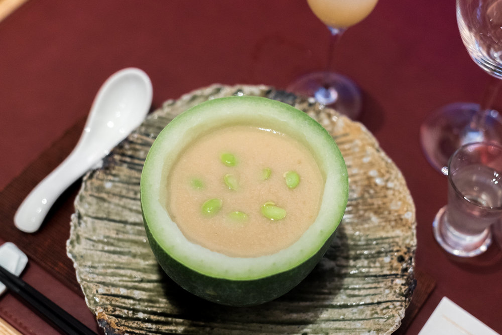 Soup - Winter Melon Veloute with Prawns, Scallop and Yuzu Pepper NAMI - Shangri-La Hotel, Singapore