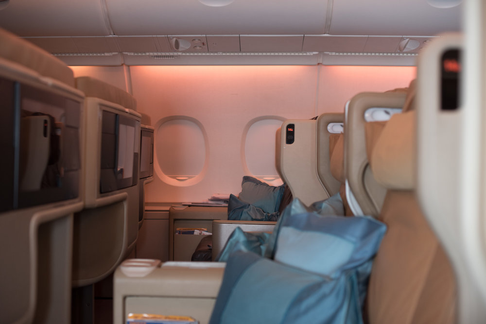 Smaller Forward Cabin  Singapore Airlines SQ802 Business - SIN to PEK