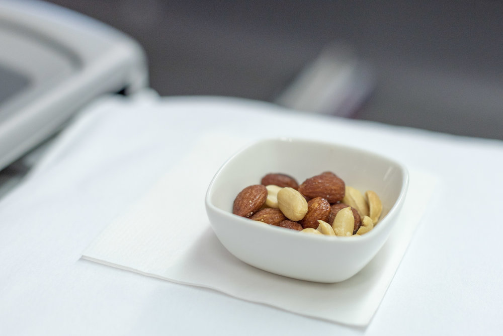 Peanuts and Almonds Air China CA969 Business - PEK to SIN