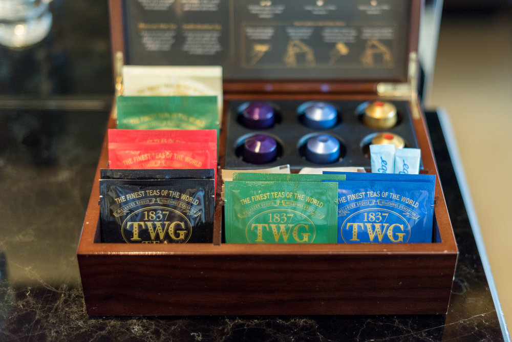 TWG Tea Bags and Nespresso Coffee Capsules  Premier Bay View Room - The Fullerton Bay Hotel Singapore