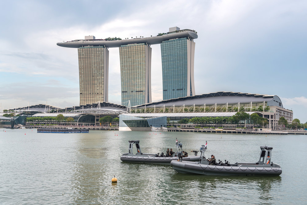 View of the Iconic Marina Bay Sands Premier Bay View Room - The Fullerton Bay Hotel Singapore