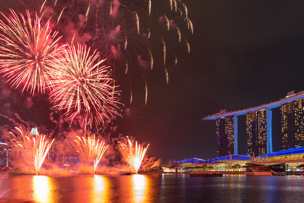 View of Fireworks from Room  Premier Bay View Room - The Fullerton Bay Hotel Singapore