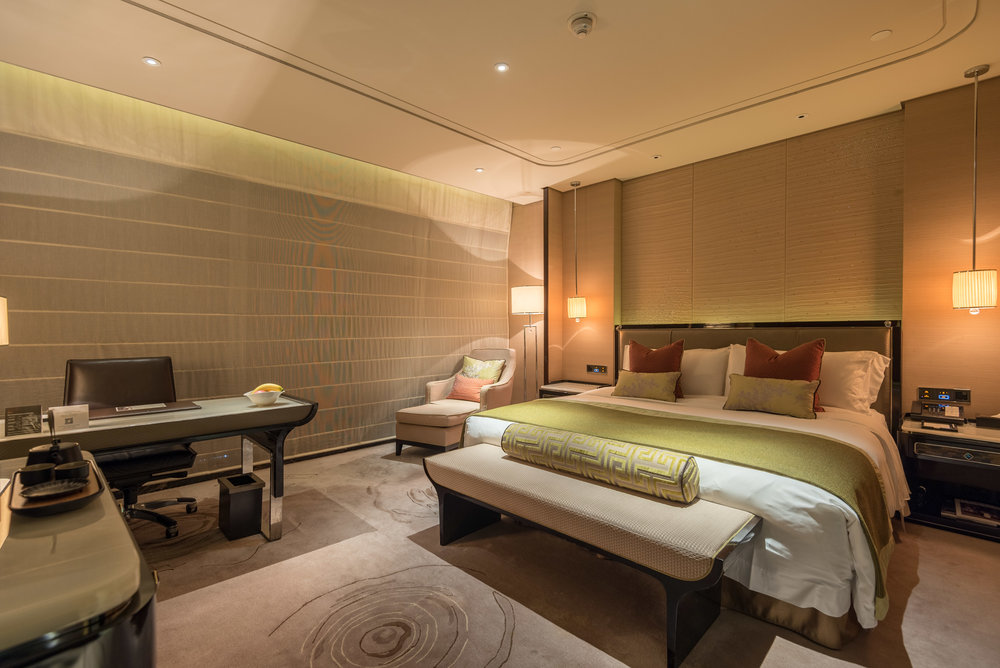 Bedroom (Blinds Down)  Deluxe Room -The St. Regis Shenzhen