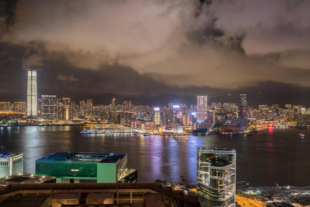 Night View from Lounge  Executive Lounge - Conrad Hong Kong