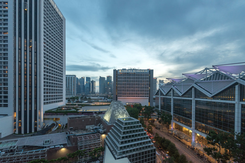 Evening View from the Bedroom Deluxe Room (Refurbished) - Conrad Centennial Singapore