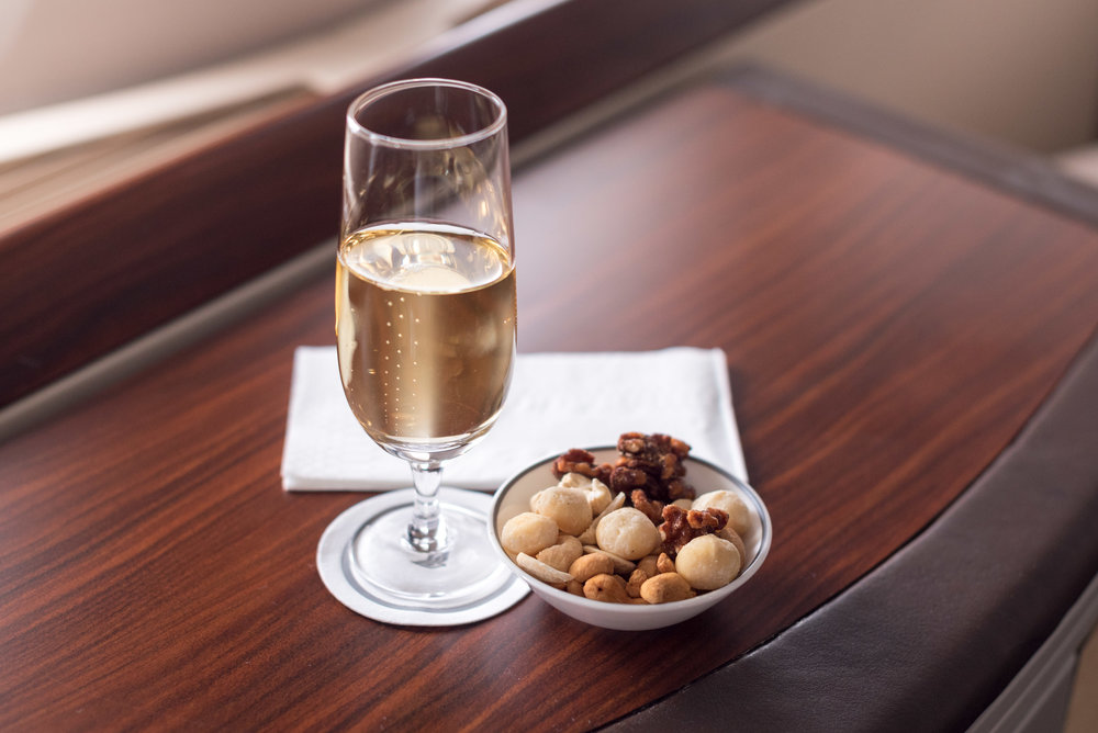 Krug 2004 and Nuts Singapore Airlines Suites SQ802 A380-800 - SIN to PEK