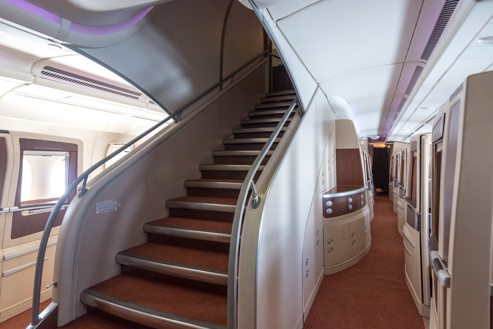 Stairs to Business Cabin Singapore Airlines Suites SQ802 A380-800 - SIN to PEK