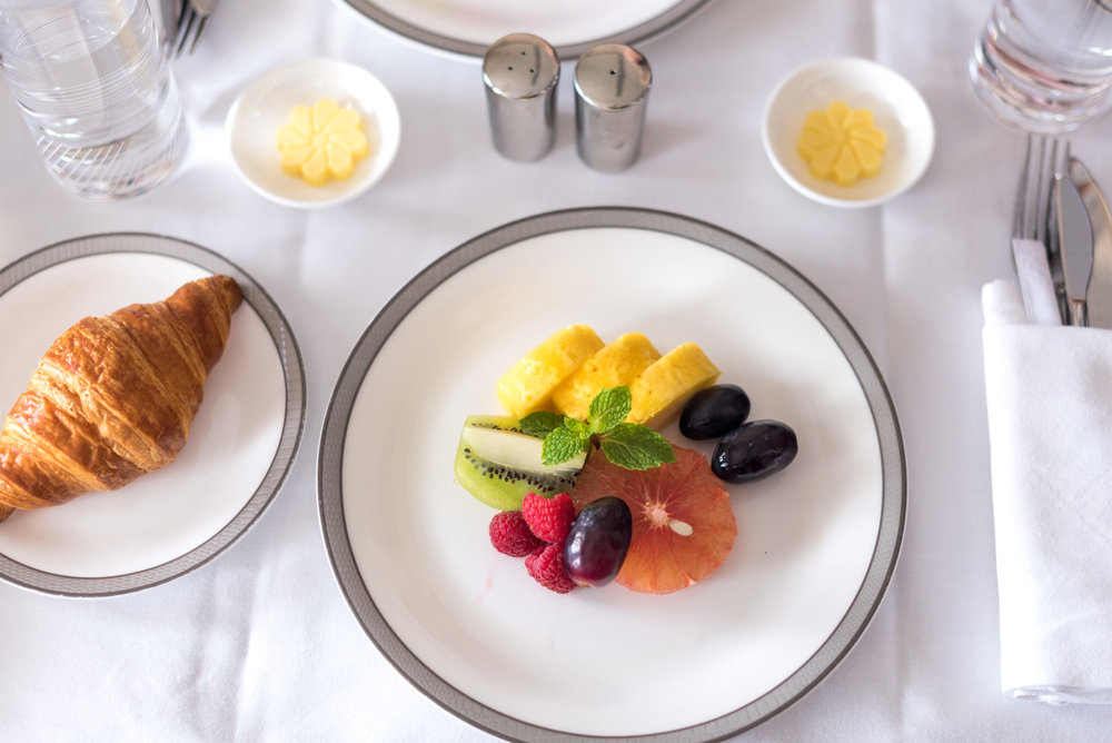 Selection of Sliced Fresh Fruits and Croissant - Brunch Service Singapore Airlines Suites SQ802 A380-800 - SIN to PEK