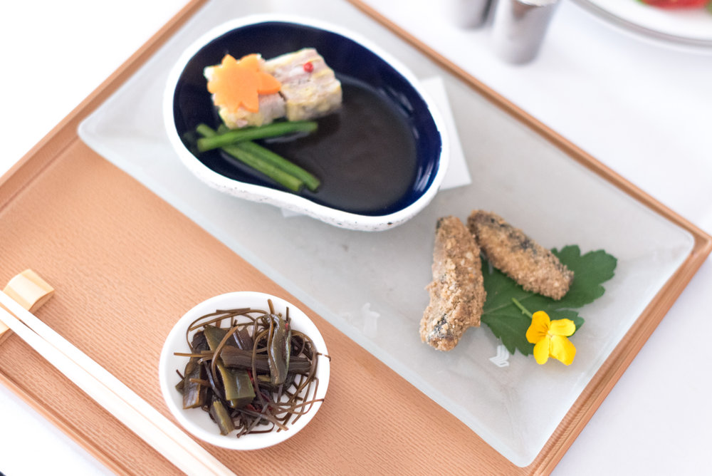 Kyo Kaiseki (Book the Cook) First Course - Brunch Service Singapore Airlines Suites SQ802 A380-800 - SIN to PEK