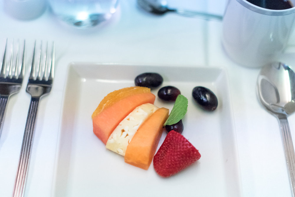 Selection of Sliced Fresh Fruits - Breakfast Service  Singapore Airlines Business Class SQ285 A380-800 - SIN to AKL